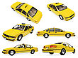 Isolated Collection Of Yellow Taxi stock image