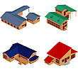 Isometric Perspective View Of Houses Over White Background, Clip Art Icons. No Mesh Or Gradients Used