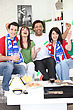 Italian Football Fans Celebrating stock photography