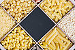 Italy Italian Pasta Assortment And Blackboard For Text stock photography