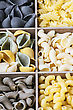 Italy Italian Pasta Assortment Of Different Colors Background stock photo