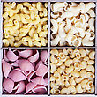 Italian Pasta Assortment Of Different Colors Background stock photo