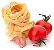 Italy Italian Pasta Fettuccine Nest And Cherry Tomato Isolated On White Background stock photography