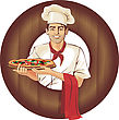Pizza Italian Pizza Cook, Brunette Man stock illustration