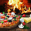 Meat Italian Pizza With Mushrooms And Cheese Served On Wooden Table stock photo