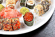 Japanese Sushi Set With Red Caviar Sushi In The Foreground