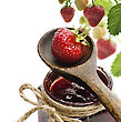 Jar Of A Strawberry Jam And Fresh Berries stock photography