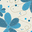 Jeans Texture With Flower Ornament, Vector Illustration