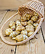 Jerusalem Artichoke Tubers In A Wicker Basket On A Wooden Boards Background stock photo