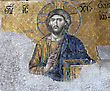 Jesus Christ fresco from Hagia Sophia in Istanbul, Turkey stock photo
