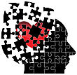 Jigsaw Puzzle Head Man With A Heart Shatters Into Pieces. Vector Illustration stock vector