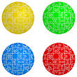 Jigsaw Puzzle Set Form Of Spheres Four Colors. Vector Illustration stock vector