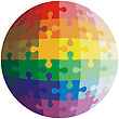 Jigsaw Puzzle Shape Of A Ball, Colors Rainbow. Vector Illustration