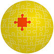 Jigsaw Puzzle In The Shape Of A Sphere With One Red. Vector Illustration