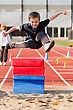 Jumping Young Kid stock image