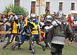 KAMYANETS-PODILSKY- JUNE 2: Fighting Knights During Forpost (The Outpost) Festival Of Medieval Culture On June 2, Ukraine stock image