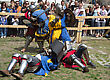 Vintage KAMYANETS-PODILSKY- JUNE 2: Knights Battle During Forpost (The Outpost) Festival Of Medieval Culture On June 2, Ukraine stock photography