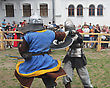 Fight KAMYANETS-PODILSKY- JUNE 2: Knights Battle During Forpost (The Outpost) Festival Of Medieval Culture On June 2, Ukraine stock image