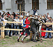 Vintage KAMYANETS-PODILSKY- JUNE 2: Knights Battle During Forpost (The Outpost) Festival Of Medieval Culture On June 2, Ukraine stock photo