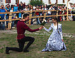 KAMYANETS-PODILSKY- JUNE 2: Young People Dancing During Forpost (The Outpost) Festival Of Medieval Culture On June 2, Ukraine stock image