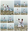 Karate Fight Collage. Made Of Ten Photos stock image