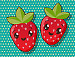 Kawaii Style Drawing Strawberry Icons stock illustration