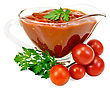 Ketchup In A Glass Gravy Boat With Tomatoes And Parsley Isolated On White Background