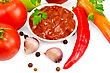 Mexican Food Ketchup In A White Cup, Tomatoes, Two Red Fresh Hot Pepper, Garlic, Peppercorns, Mustard, Parsley stock image