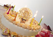 Kid's Birthday Cake With Six Candles stock photography