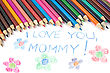Kid's Mothers Day Drawing And Colorful Pencils stock image