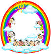 Kiddies Art - Kids In Rainbow With Sun And Clouds stock image