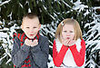Children Kids Blowing Snow stock photo