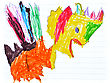 Kids Drawings - A Illustration With Markers stock photography