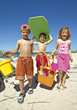 Kids Going To The Beach stock photography