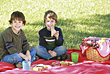People Eating  Kids Having a Picnic stock image
