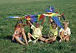 Kids Holding Up A Big Kite stock image