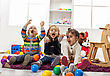 Kids playing in the room stock image
