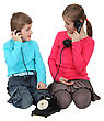 Kids Using Old-fashioned Telephone stock photo