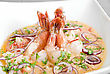 King Shrimps With Vegetables At Cream Sauce stock photography