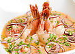King Shrimps With Vegetables At Cream Sauce stock image
