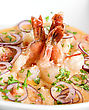 King Shrimps With Vegetables At Cream Sauce stock photo