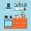 Kitchen Interior Flat Design Theme. Vector Illustration