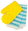 Kitchen Towel, Yellow Potholder In The Form Of Mitten stock image