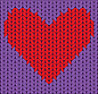 Knitted Red Heart On Lilac Background stock illustration