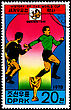 "KOREA - CIRCA 1978: A Postage Stamp Shows The Soccer Players With Inscription ""Sweden 1958"", Series ""History Of World Cup"", Circa 1978 stock photography"