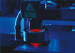 Laboratory Equipment With Red Laser Light stock photo