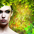 Lady Nature. Abstact Natural Backgrounds With Beauty Female Portrait stock photography