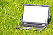 Internet Concepts Laptop With Blank Screen On The Grass stock photo