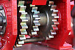 Large Chain Drive On A Seed Separator Machine. stock image