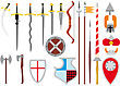 Large Primitive Set Of Medieval Weapons And Defenses